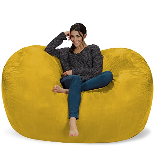 Chill Sack Bean Bag Chair: Huge 6' Memory Foam Furniture Bag and Large Lounger - Big Sofa with Soft Micro Fiber Cover - Lemon