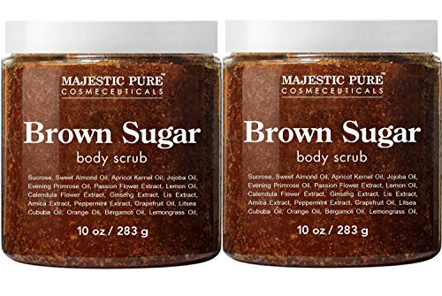Brown Sugar Body Scrub for Cellulite and Exfoliation - All Natural Body Scrub - Reduces The Appearances of Cellulite, Stretch Marks, Acne, and Varicose Veins, Set Of 2