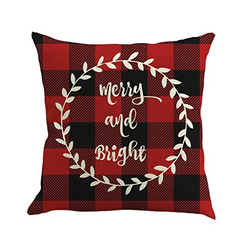 Shan-S Christmas Decorations Pillow Covers Christmas Tree Snowflake Snowman Reindeer Home Decor Polyester Peach Throw Pillow Case Cushion Cover Square Pillowcase 18' x 18' Set of 4 Xmas Gifts