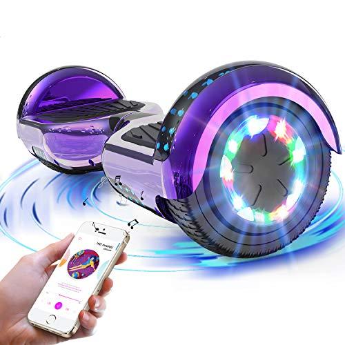 """RCB Hoverboard 6.5"""" Overboard Patinete Eléctrico con LED Luces/Bluetooth Regalo para Adultos y Niños Monopatín Eléctrico Scooter"""
