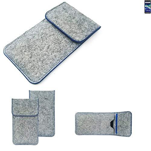 K-S-Trade Filz Schutz Hülle Für General Mobile GM 6 Schutzhülle Filztasche Pouch Tasche Hülle Sleeve Handyhülle Filzhülle Hellgrau, Blauer Rand