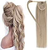Easyouth Real Human Hair Extensions Clip on Ponytail Color Dark Ash Blonde Highlighted Bleach Blonde Wrap Aound Hair...