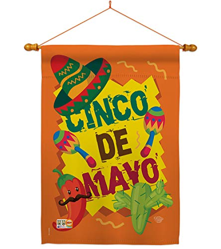 Cinco de Mayo House Flag - Dowel Set Summer Mexican Fiesta Party Cactus PinataOutdoor Summertime Sunny - Decoration Banner Small Garden Yard Gift Double-Sided Made In USA 28 X 40