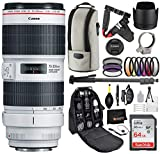 Canon EF 70-200mm f/2.8L is III USM Lens with Professional Bundle Package Deal Kit 3044C002 for EOS 7D Mark II, 6D Mark II, 5D Mark IV, 5D S R, 5D S, 5D Mark III, 80D, 70D, 77D, T5, T6, T6s, T7i