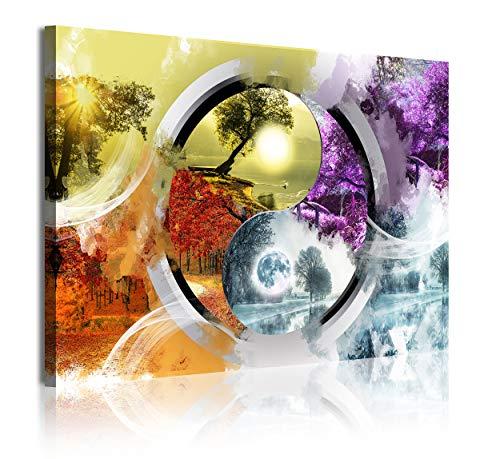 DekoArte 346 - Cuadros Modernos Impresión de Imagen Artística Digitalizada | Lienzo Decorativo para Tu Salón o Dormitorio | Estilo Paisaje Ying Yang Cuatro Estaciones del Año | 1 Pieza 120 x 80 cm