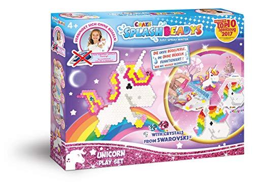 Craze Splash BEADYS Einhorn Swarovski Wasserperlen Bastelset für Kinder Bügelperlen ohne Bügeln 58467 58467-Splash, Play Set Unicorn
