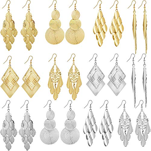 12 Pairs Bohemia Metal Earrings Set Vintage Statement Drop Dangle Earrings for Women Girls (Gold, Silver)