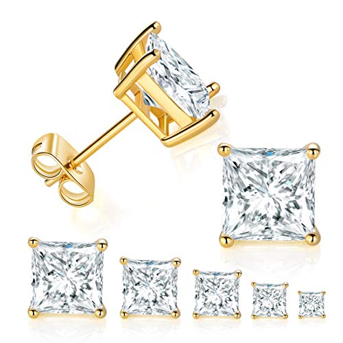 5 Pairs 14K Yellow Gold Plated Princess Cut Clear Cubic Zirconia Stud Earring Set