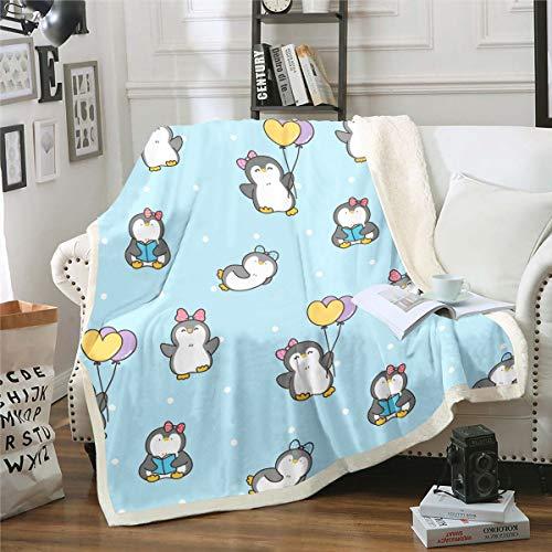 Loussiesd Manta de forro polar con diseño de pingüino de dibujos animados para decoración de sofá cama, manta de felpa divertida con estampado de animales, linda manta de bebé de 76 x 100 cm