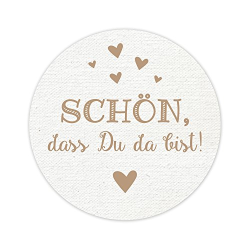 KuschelICH Aufkleber - Schön, dass Du da bist! - 5 cm Durchmesser - Tolles Vintage Design mit kleinen Herzen