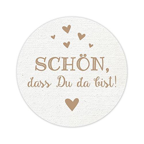 KuschelICH Aufkleber - Schön, dass Du da bist! - 5 cm Durchmesser - Tolles Vintage Design mit kleinen Herzen - Top Qualität aus Deutschland (braun-vintage, 50 Stk.)