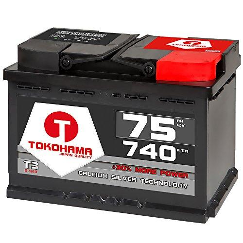 TOKOHAMA Autobatterie 75Ah 12V CA/CA Technologie +30% mehr Leistung 72Ah 74Ah 70Ah