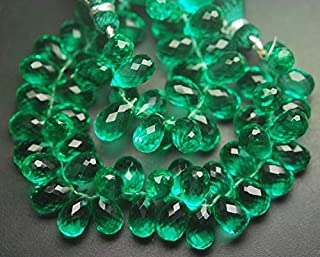 Jewel Beads Natural Beautiful jewellery 20 Pcs of Extremely Beautiful,Super Finest,Green Emerald Color QUARTZ Micro Faceted Tear Drops Shape Briolettes,10-11mm aprxCode:- JBB-37792