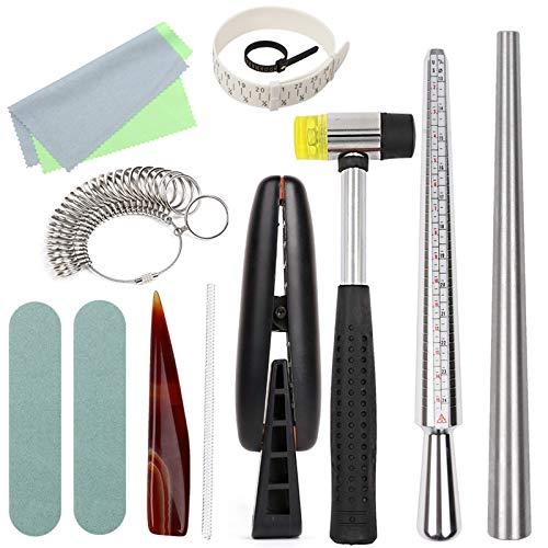 LAPTOP Juego de 13 herramientas de calibrador de anillo de joyería, conjunto de mandril de calibrador de anillo para fabricación de joyas