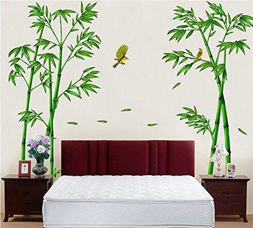 Winhappyhome - Adesivi da parete in bambù, motivo uccellino giallo, per caffetterie, soggiorno, TV, decorazione rimovibile