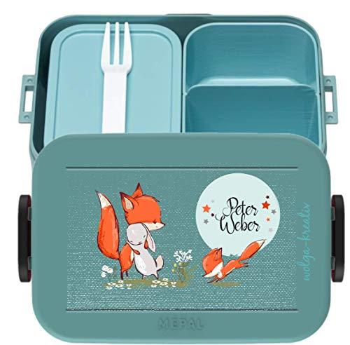 wolga-kreativ Brotdose Lunchbox Bento Box Kinder mit Namen Mepal Hase und Fuchs Obsteinsatz für Mädchen Jungen personalisiert Brotbüchse Brotdosen Kindergarten Schule Schultüte füllen