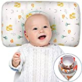 Baby Pillows for Sleeping, Baby Head Shaping Pillows Prevent Flat Head Syndrome, Memory Foam Toddler Pillow with Cotton Pillowcase for 3-36 Months, Newborn Gift for Girls Boys with Baby Bib (Fox)