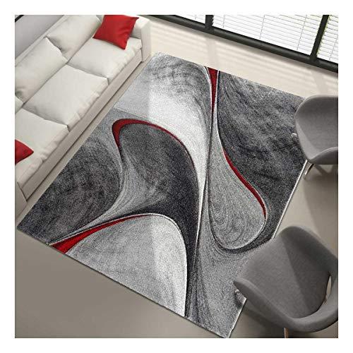 Dezenco Tappeto Rotondo per Il Salotto garca Rosso Tappeto da Salotto Moderno Design, Polipropilene, Rosso, 80 x 150 cm