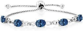 Gem Stone King 925 Sterling Silver Adjustable Diamond Tennis Bracelet 4.00 ct Oval Mystic Topaz