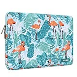 MOSISO Laptop Sleeve Hülle Kompatibel mit 2019 2018 MacBook Air 13 Zoll A1932, 13 Zoll MacBook Pro A2159 A1989 A1706 A1708, Polyester Vertikale Wasserabweisend Laptoptasche, Flamingo Palm Blätter