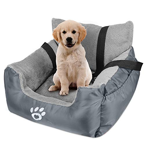 FAREYY Dog Car Seat for Small Dogs or Cats, Pet Booster Seat Travel Dog Car Bed with Storage Pocket and Clip-On Safety Leash, Washable Warm Plush Dog Car Safety Seats (Grey)