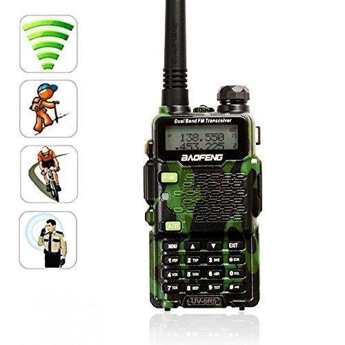 AGPTEK WalkieTalkie BAOFENG UV-5R5 Due Bande UHF/VHF 5W Ricetrasmettitore Radio con Auricolare Dual Band Radio 136-174/400-470MHz[con la Funzione della Torcia elettrica](Camo*1pz)