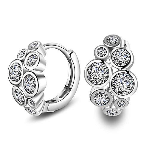 Drop Earrings For Women Women Luxury Shiny Flower Crystal Hoop Earrings Black/White Small Huggies Charming Piercing Earring Jewelry For Lady Girls-Silver White