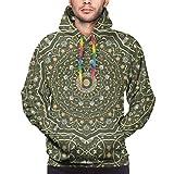 Moshow Sudadera con Capucha para Hombre Alfombra de Color Persa. Rich Ornament For Fabric Design Sudadera S
