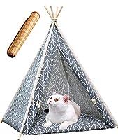 Bidason ペットベッド 犬 猫 小屋 木製 ペットクッション ペットテント クッション付き 茣蓙付き 簡易テント 室内 組立簡単 工具不要 分解可能 折りたたむ 通気性抜群 洗濯便利 四季適用