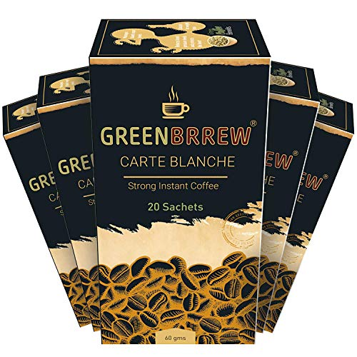 Greenbrrew Instant Green Coffee For Weight Loss/Fat Burner – 20 Sachets (Strong Flavor, Pack Of 5) 60G Each