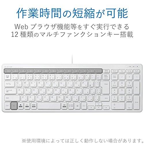 エレコムキーボード有線パンタグラフコンパクトキーボードホワイトTK-FCP097WH