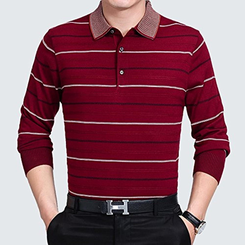 ZHUDJ Lapel Sweater Long Sleeved Striped Lapel Sweater Shirt In Autumn