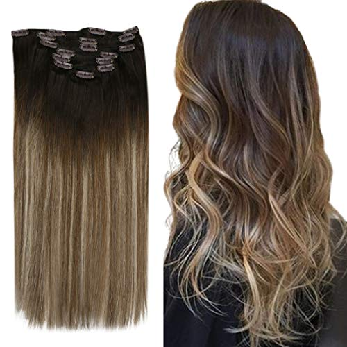 YoungSee 14inch Clip in Human Hair Extensions Balayage Darkest Brown to Medium Brown with Ash Blonde Clip in Hair...