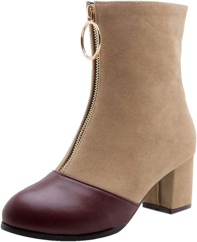 AicciAizzi Women Square Heels Ankle Boots Zipper