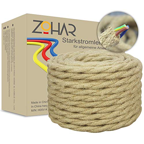 ZOHAR Textilkabel 3 adrig 0,75mm² 10M Vintage Juteschnur Retro Hanfseil Mantelleitung Installationskabel Kupfer Draht Stromkabel Elektrokabel Stoffkabel mit Erdleiter VDE zertifiziert für Lampe DIY