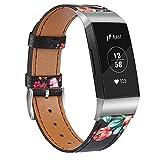 Vancle - Pulsera compatible con Fitbit Charge 4 / Fitbit Charge 3, correa de piel y hebilla de acero...