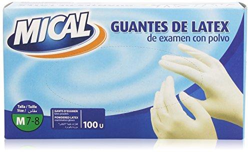 Mical - Guantes de latex de examen con polvo - talla M / 7-8, 100 piezas
