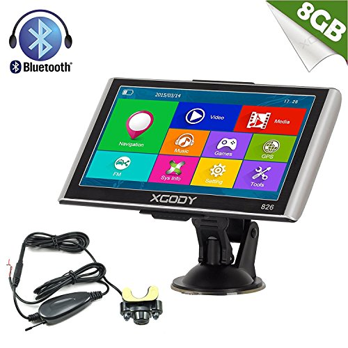 Xgody 826 Capacitive Touchscreen Wireless Rearview Backup Camera 256RAM 7Inch SAT NAV Truck Lorry GPS Navigation System Navigator with FM US Lifetime Maps