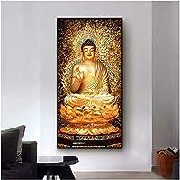 キャンバスアート絵画ゴールデンブッダロータス風水絵画壁アートポスターと壁アート写真リビングルームの家の装飾60x120cmフレームなし