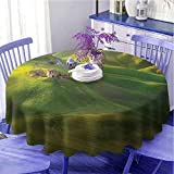 UETECH Outdoors Round Tablecloth Tuscan Tuscany Hills Sunset Scenery Green Meadow Agriculture Country Farm House Theme Green and Yellow Diameter 60'