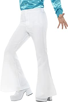Pantalones De Pata De Elefante Blancos Xl Es 56 58 Pantalones Acampanados Hombres Saturday Night Fever Pantalones De Campana Anos 70 Amazon Es Juguetes Y Juegos
