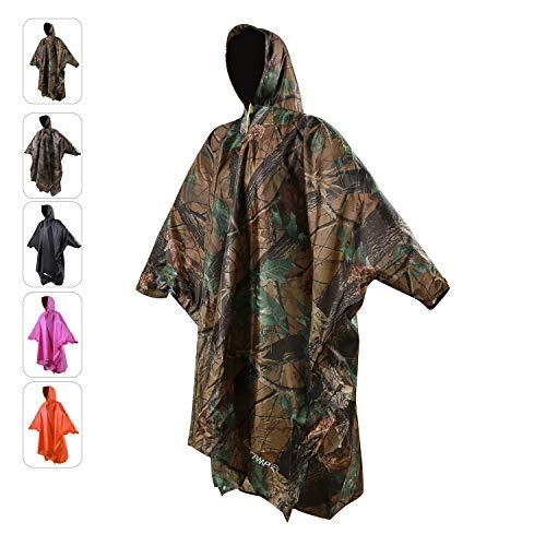 REDCAMP Regenponcho für Erwachsene, Übergröße, mit Kapuze und Ärmeln, für Männer und Frauen, für Camping, Wandern, Radfahren L XL-Leaf Camouflage