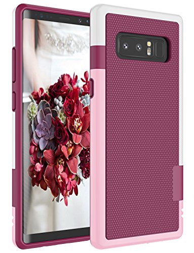Galaxy Note 8 Case, Zectoo Hybrid Impact Slim Rugged Defender Protective Bumper Cute Women Girls Flexible Enhanced Non-Slip Grip Case Soft Armor Cover Shell for Samsung Galaxy Note 8 SM-N950 - Wine