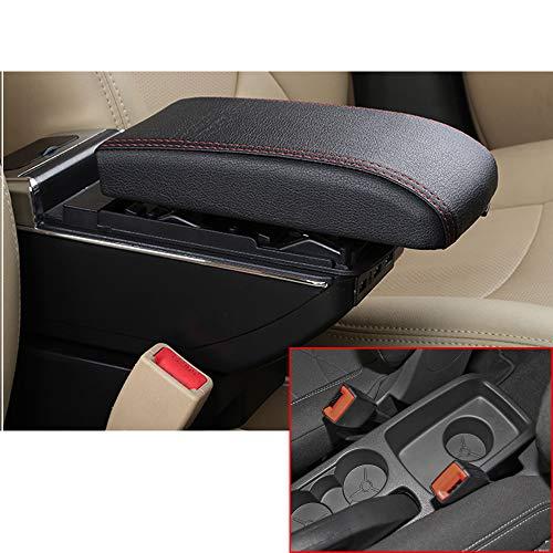 Für 2009-2017 F ord Fiesta 3 MK7 High-end Auto Armlehne Mittelarmlehne mittelkonsole Zubehör Ladefunktion Mit 7 USB-Ports Eingebaute LED-Licht Schwarz