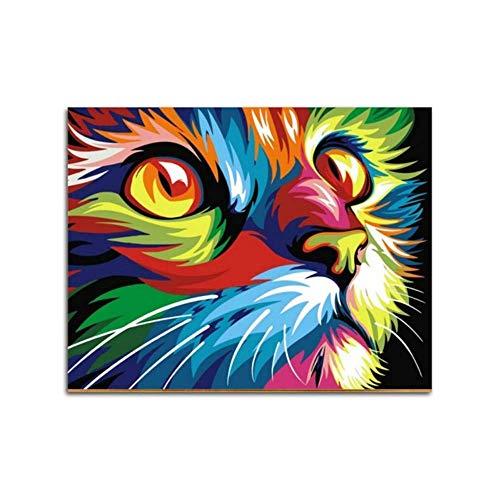 W-S Ryuanyuan Zeichnung Katzentiere Ölgemälde Durch Zahlen auf Leinwand Kits Färbung nach Zahlen Einzigartiges Geschenk Home Wandkunst Dekor 16X20 Inch (40X50 cm) Unframed