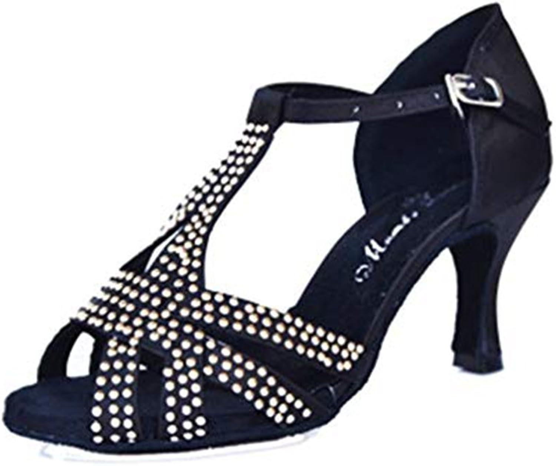 T-JULY Ladies Rhinestone Satin Latin Tango Salsa Heel Dance Sandals for Women Peep Toe Ballroom Morden Pumps shoes