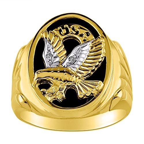 Diamond y negro Onyx anillo 14K amarillo o de oro blanco patriótico EE. UU.