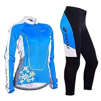 NUCKILY Women Cycling Jersey Set Winter Gear Fleece Thermal Jacket Bike Top with Padded Pants 4 Pockets