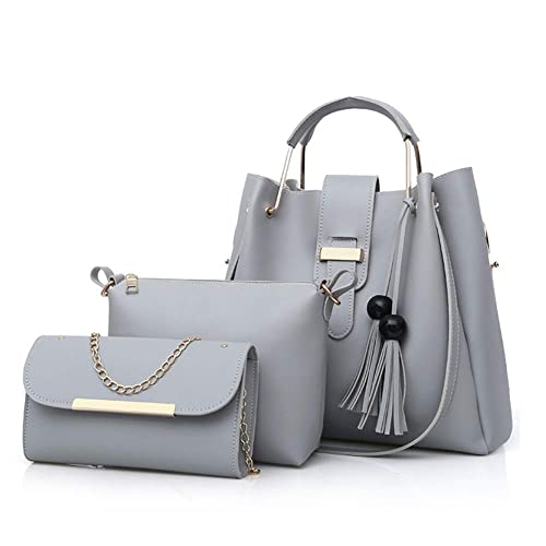 Womens Tote Handbag Chain Shoulder Crossbody Bag 3pcs Bag Set Tassel  Pendant PU Leather Clutch Purse 078df6e9ccf7f