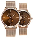 Couple Watches His and Hers Quartz Analog Wrist Watches Waterproof Stainless Steel Mesh Strap Watch